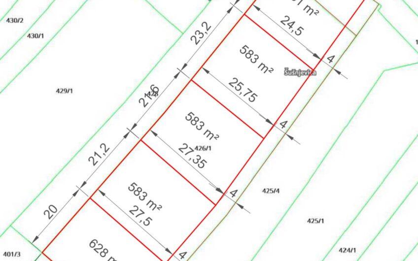 ŠUŠNJEVICA – pet građevinskih parcela po 583 m2